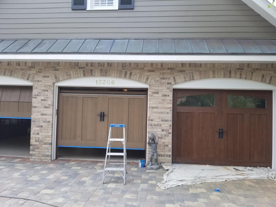 Clopay garage doors I recently did a faux wood finish on-20190403_123227_1554994398924.jpg