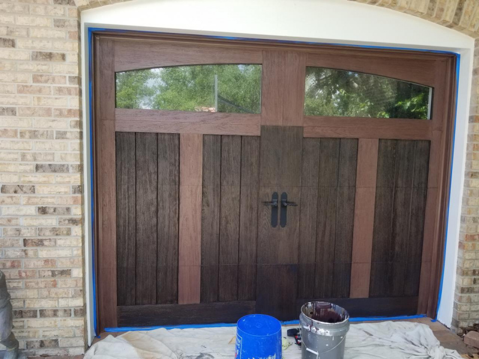 Clopay garage doors I recently did a faux wood finish on-20190408_124517_1554995016400.jpg