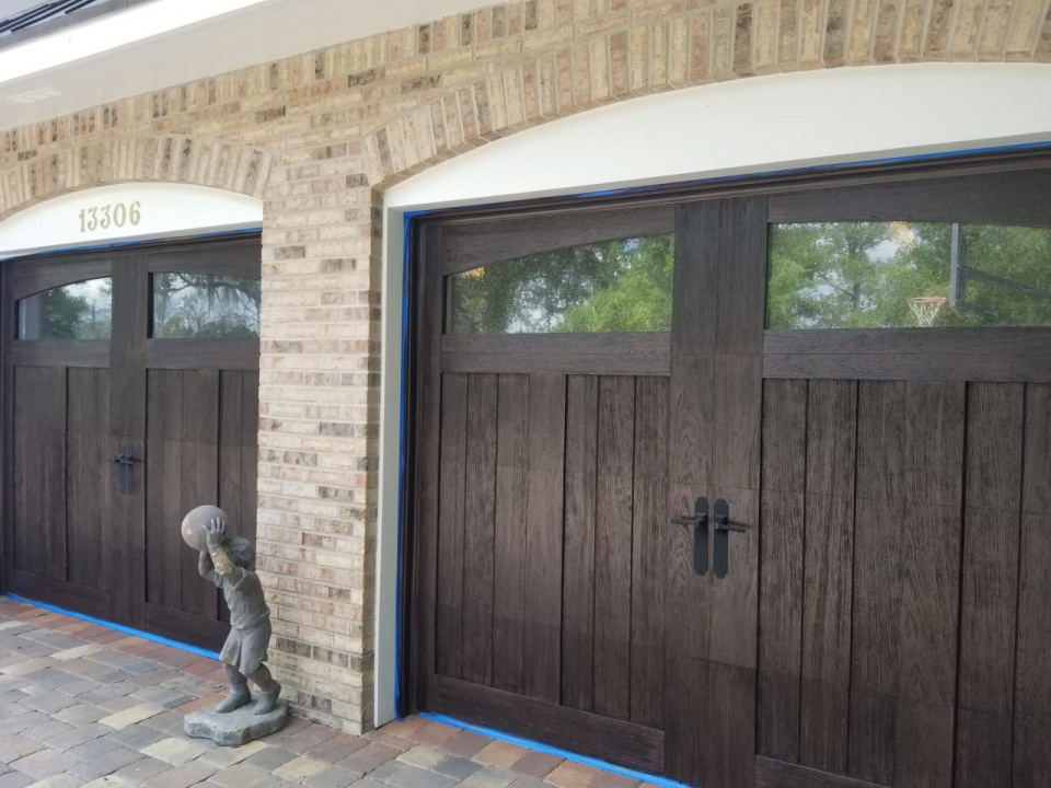 Clopay garage doors I recently did a faux wood finish on-20190408_135347_1554995114703.jpg