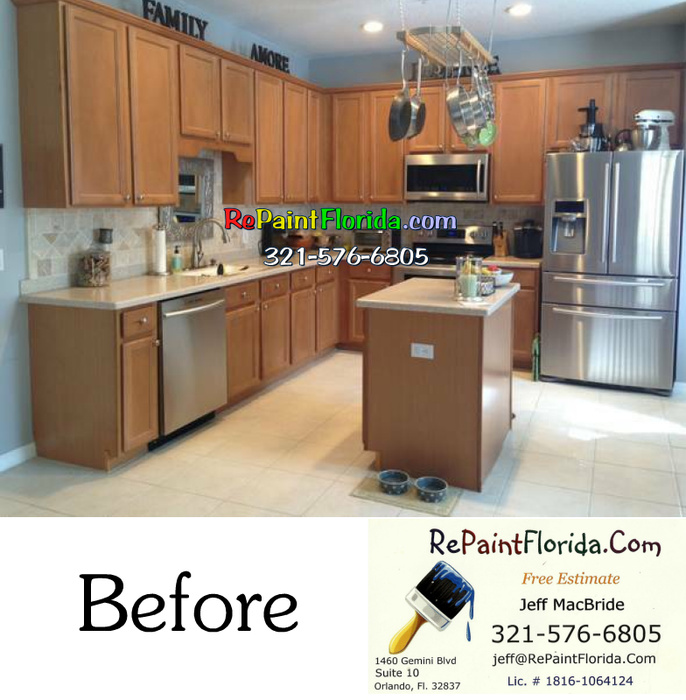 Kitchen Cabinet Painting In Orlando Fl-before-w-logo.jpg & Kitchen Cabinet Painting In Orlando Fl - Paint Talk - Professional ...