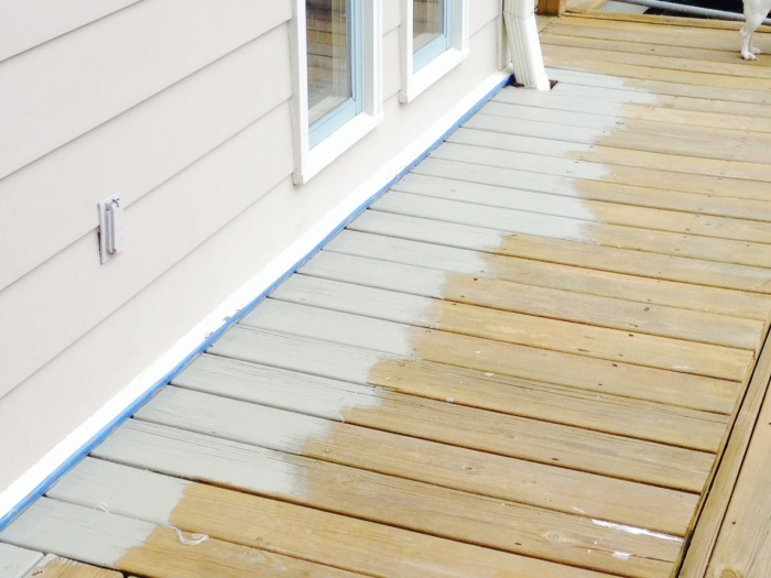 how do you remove solid stains from a wood deck. Black Bedroom Furniture Sets. Home Design Ideas